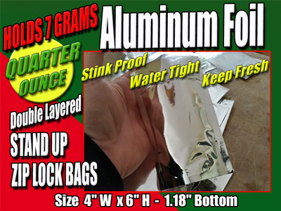 Quarter Ounce Stand Up Zipper Clear Bags