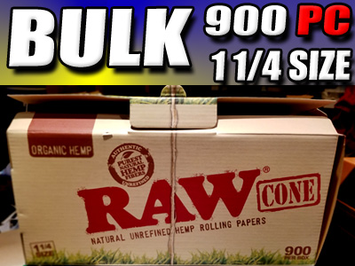 Bulk Case Lot - Raw Rolling Paper 1 1/4 Size Cones