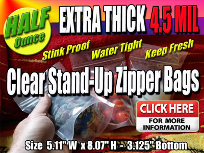 Half Ounce Stand Up Zipper Clear Bags